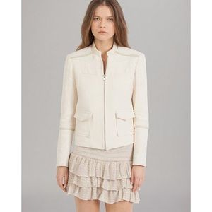 Maje Ivory Leather Trim Linen-Blend Jacket S